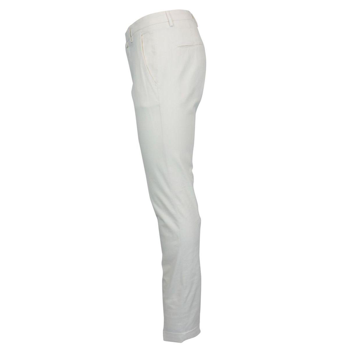 Slim stretch cotton trousers White Briglia