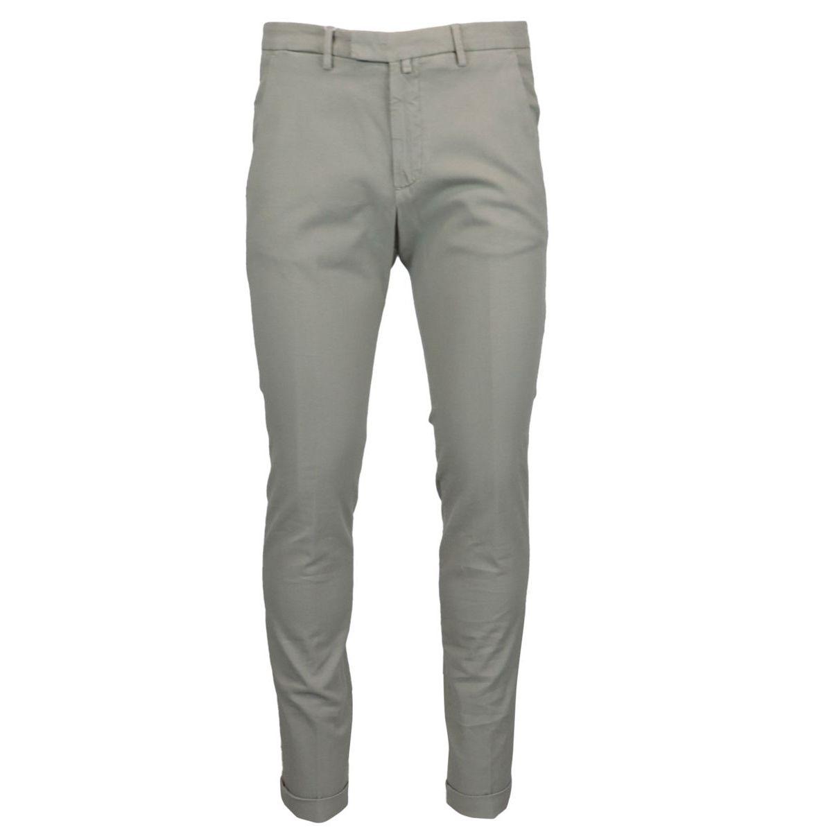 Slim stretch cotton trousers Ecru Briglia