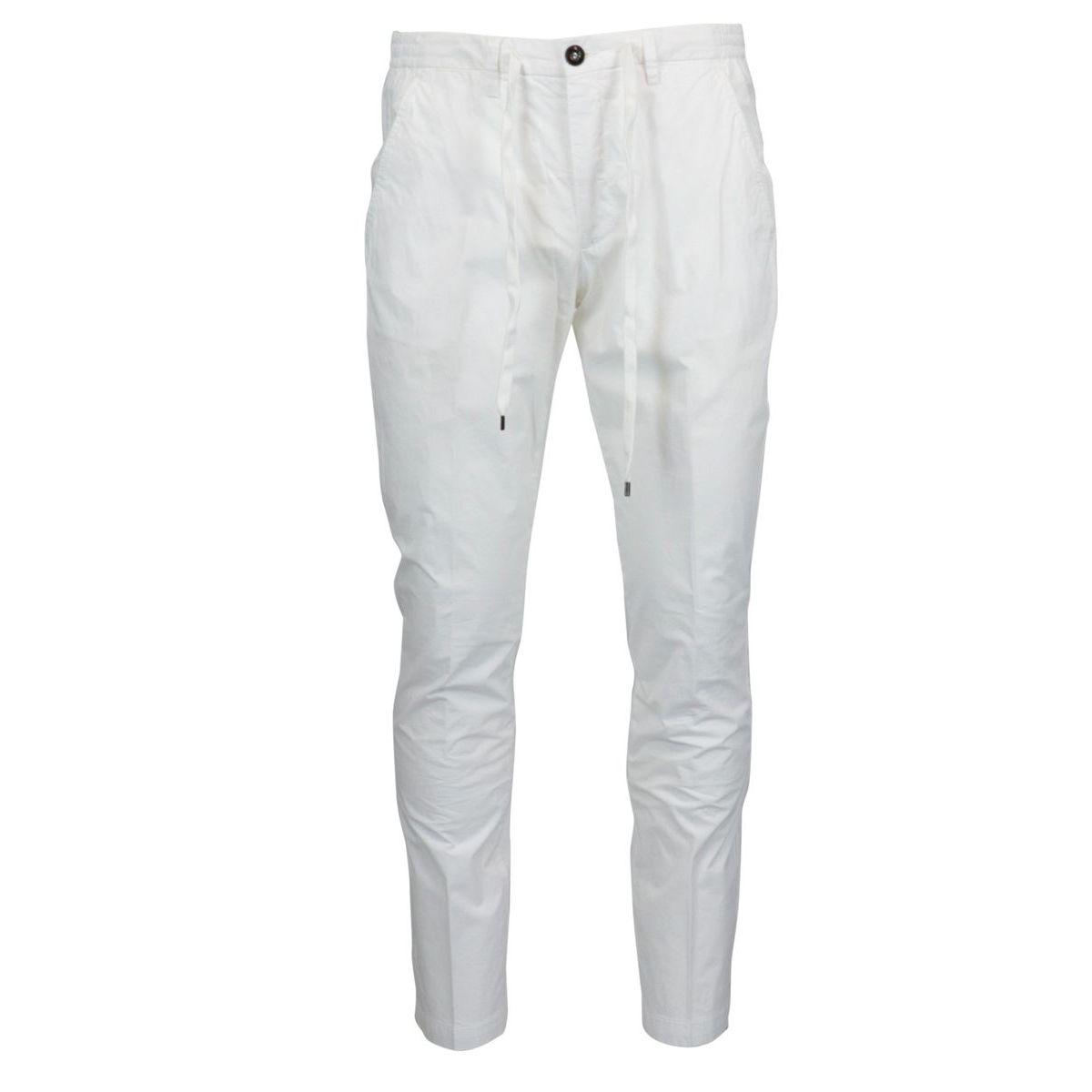 Slim trousers with cotton lace White Briglia