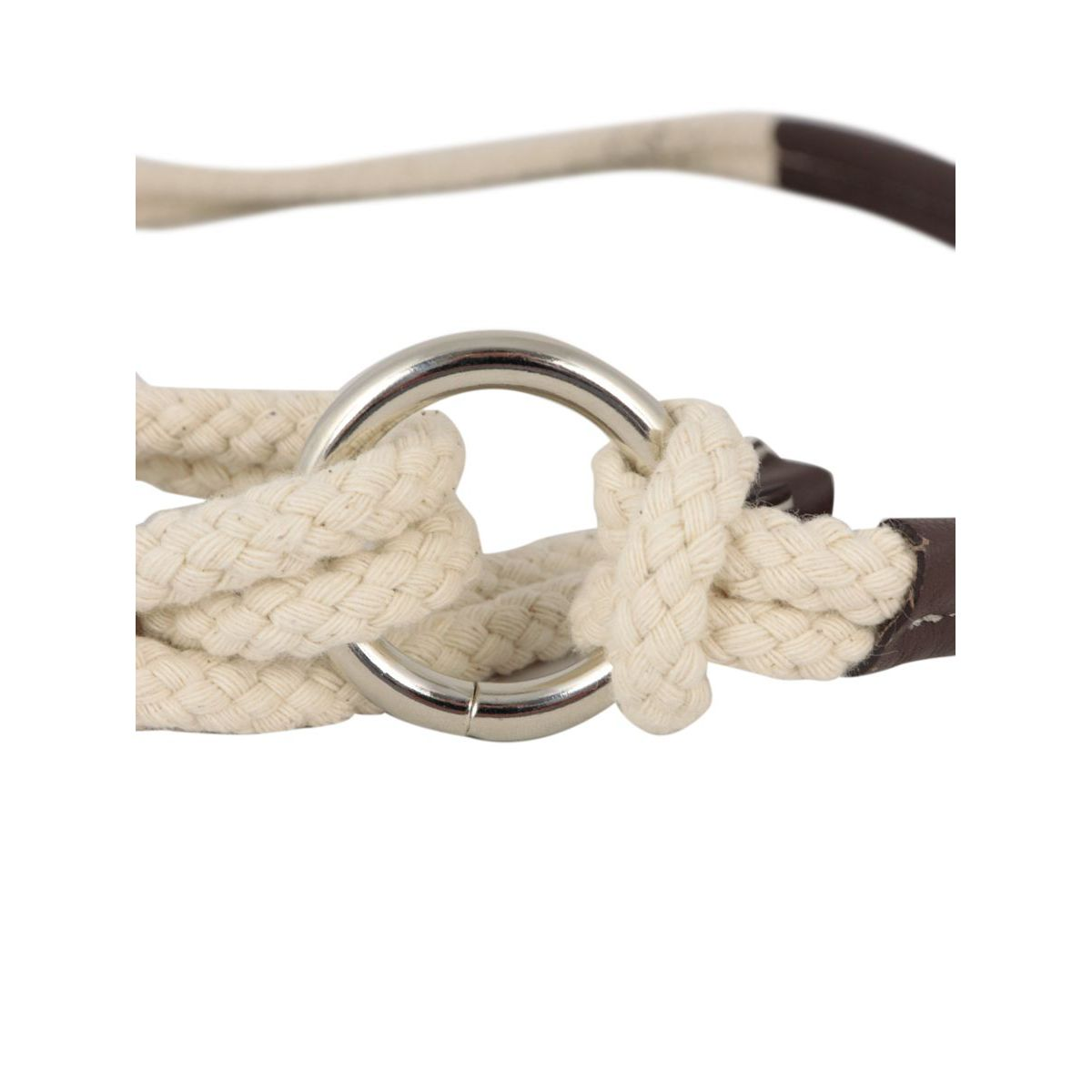 Rope and nappa belt with metal ring Brown / beige PESERICO