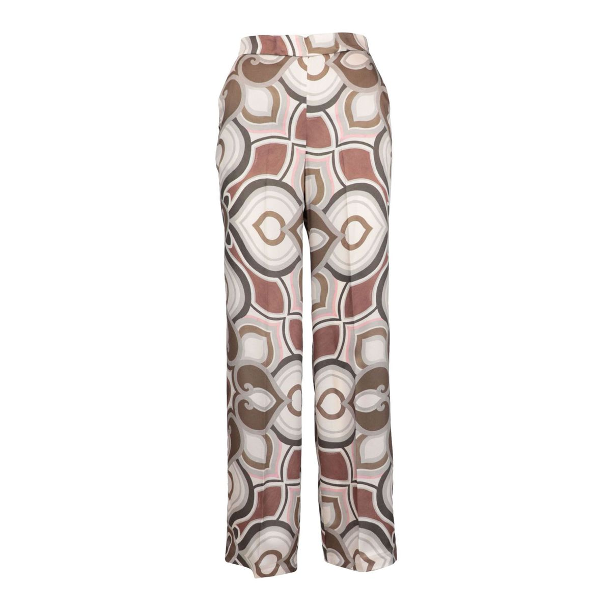 Satin-effect tube trousers with patterned print and ironed crease Beige / dark Maliparmi