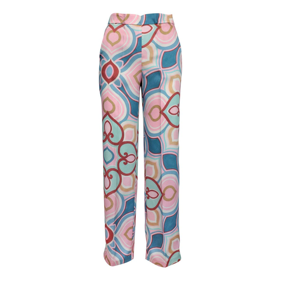 Satin-effect tube trousers with patterned print and ironed crease Blue / pink Maliparmi