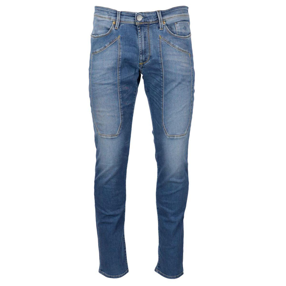 Slim denim jeans with 5 pocket model patch Light denim Jeckerson