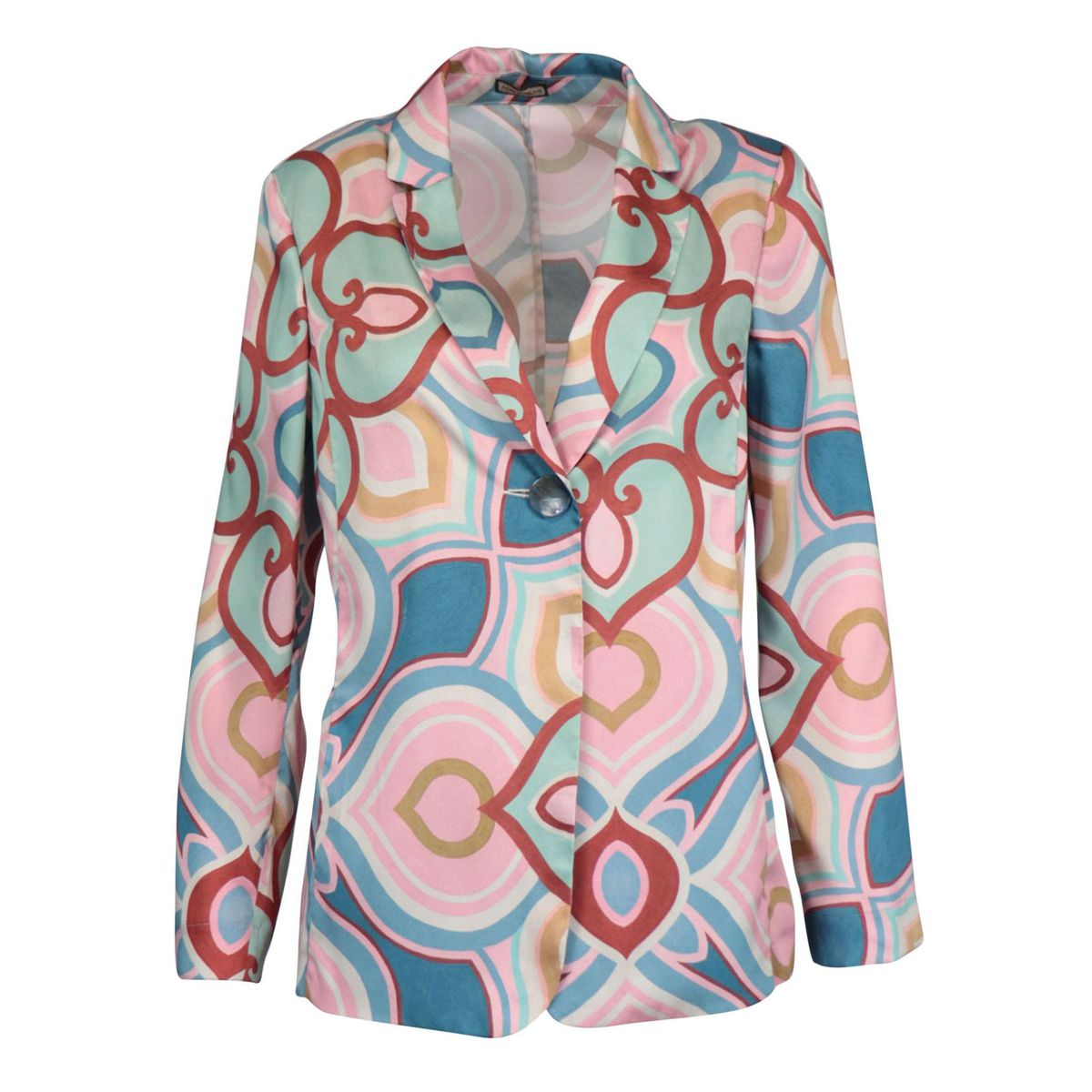 Unlined jacket with patterned satin effect Blue / pink Maliparmi