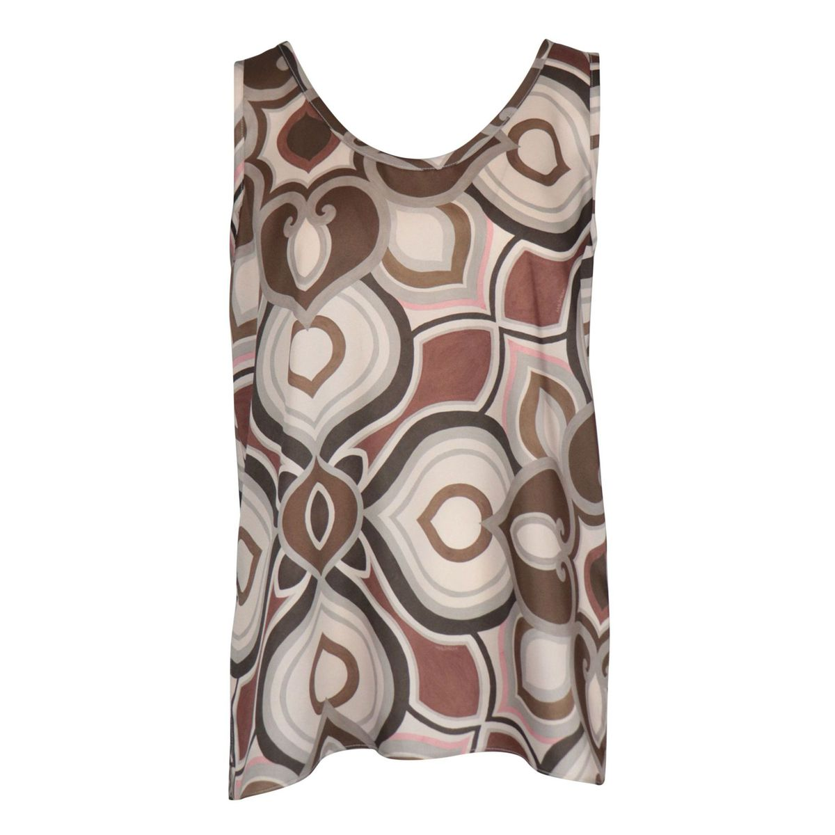 Satin effect top with fantasy print and wide neckline Beige / dark Maliparmi