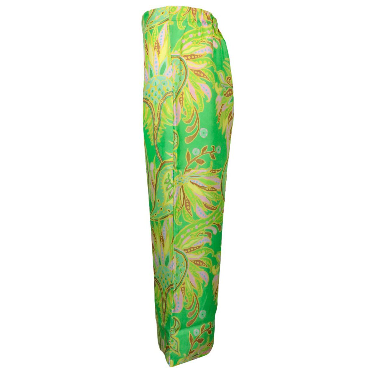 Palazzo model silk trousers Green yellow Maliparmi