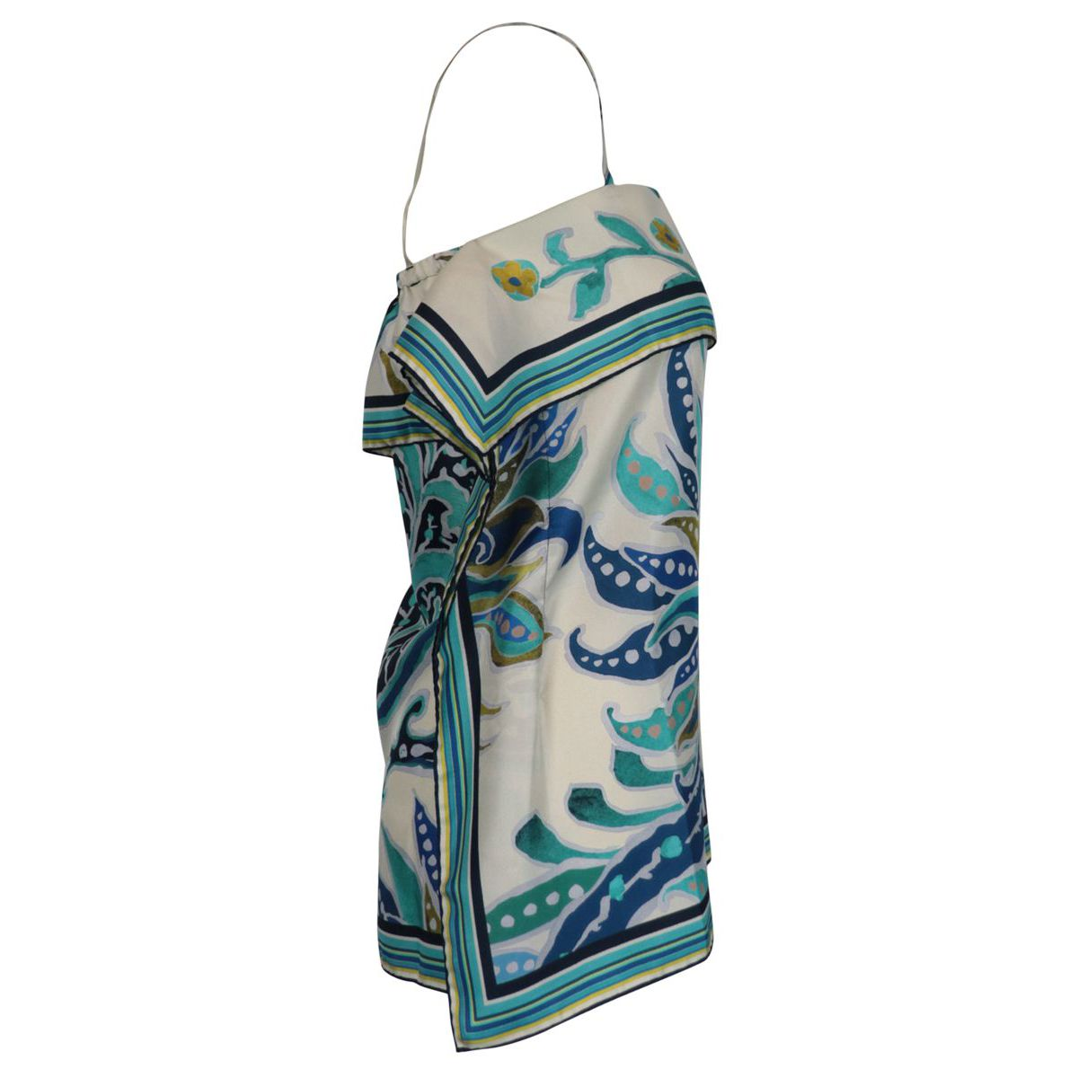 Handkerchief-effect silk top with straps Blue / turquoise Maliparmi