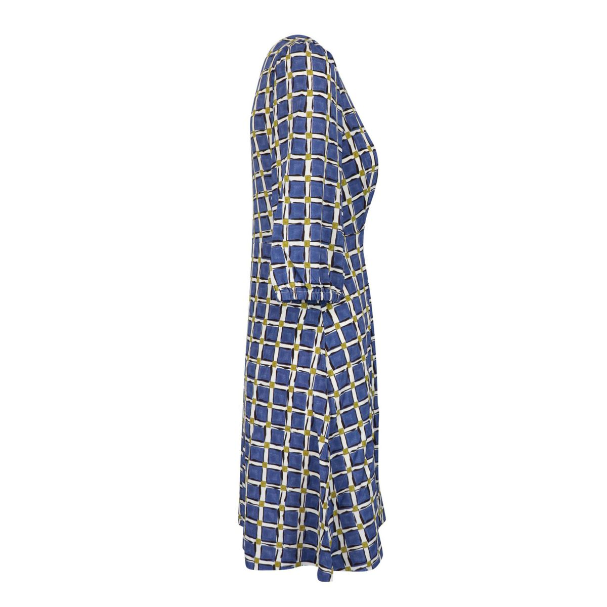 Patterned jersey dress with three-quarter sleeves Blue / ivory Maliparmi
