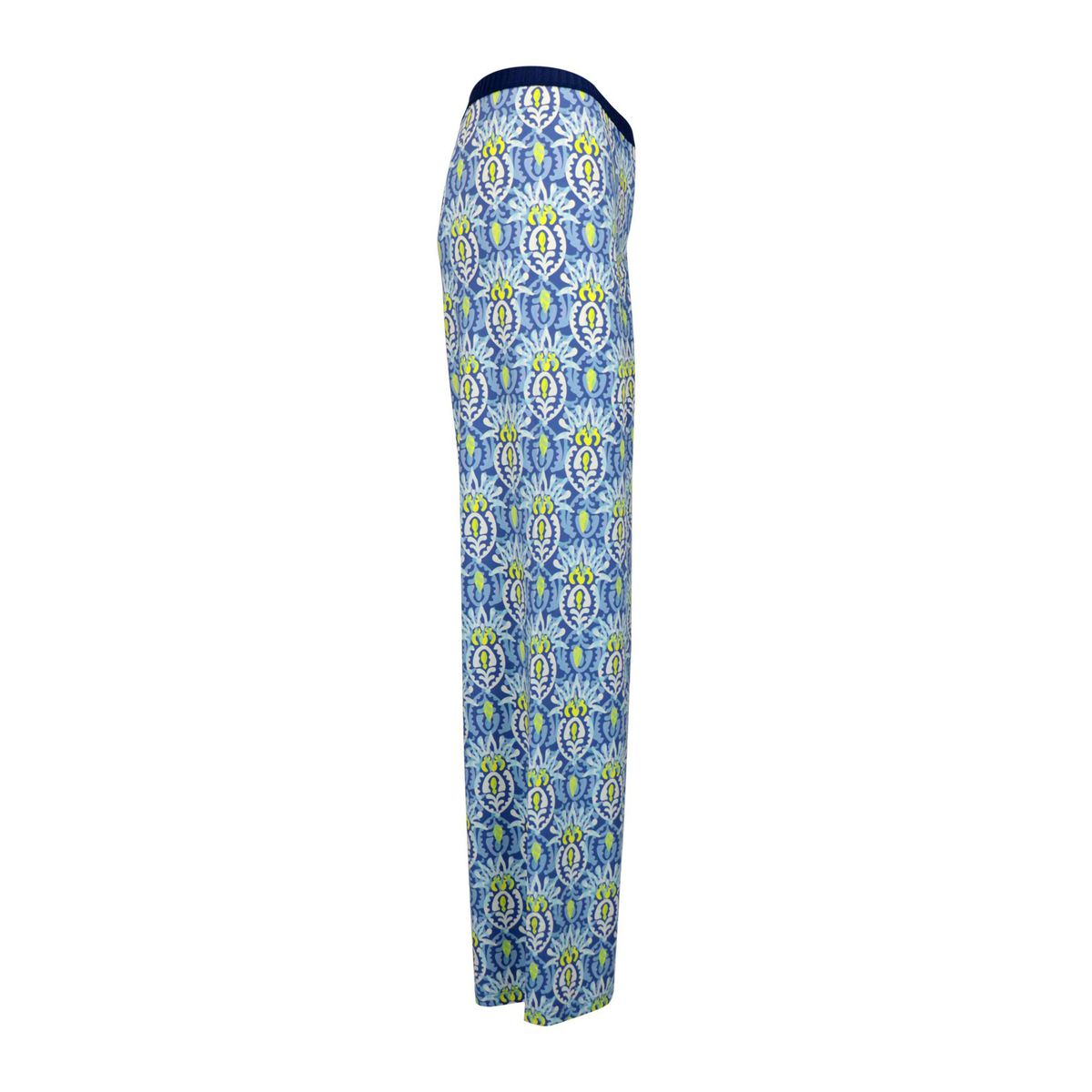 Patterned stretch jersey trousers with wide bottom Blue / pink Maliparmi
