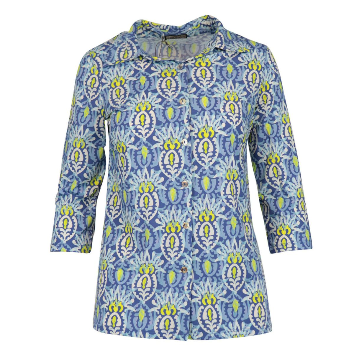 Patterned stretch jersey shirt with three-quarter sleeves Blue / pink Maliparmi