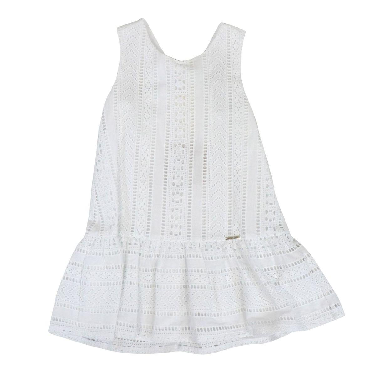Sleeveless cotton dress with sangallo embroidery White Liu Jo