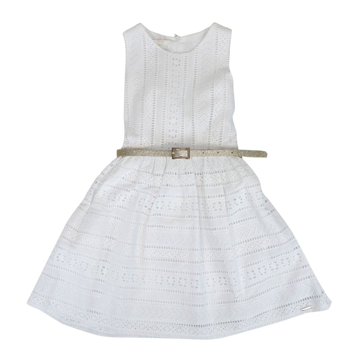 Cotton dress with sangallo embroidery with tulle underskirt White Liu Jo