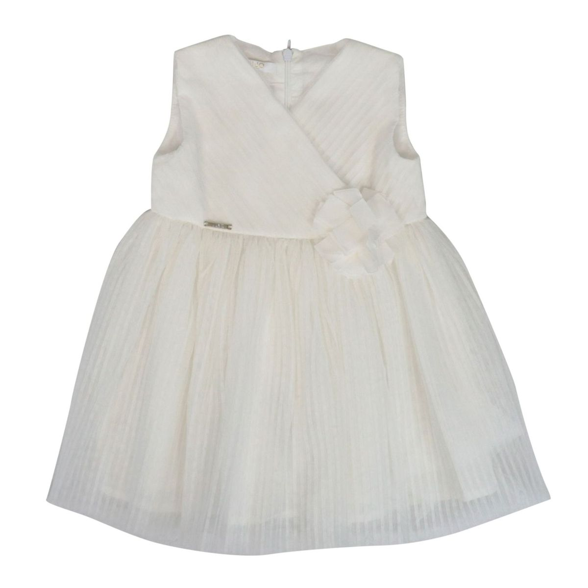 Pleated tulle dress with applied flower White Liu Jo