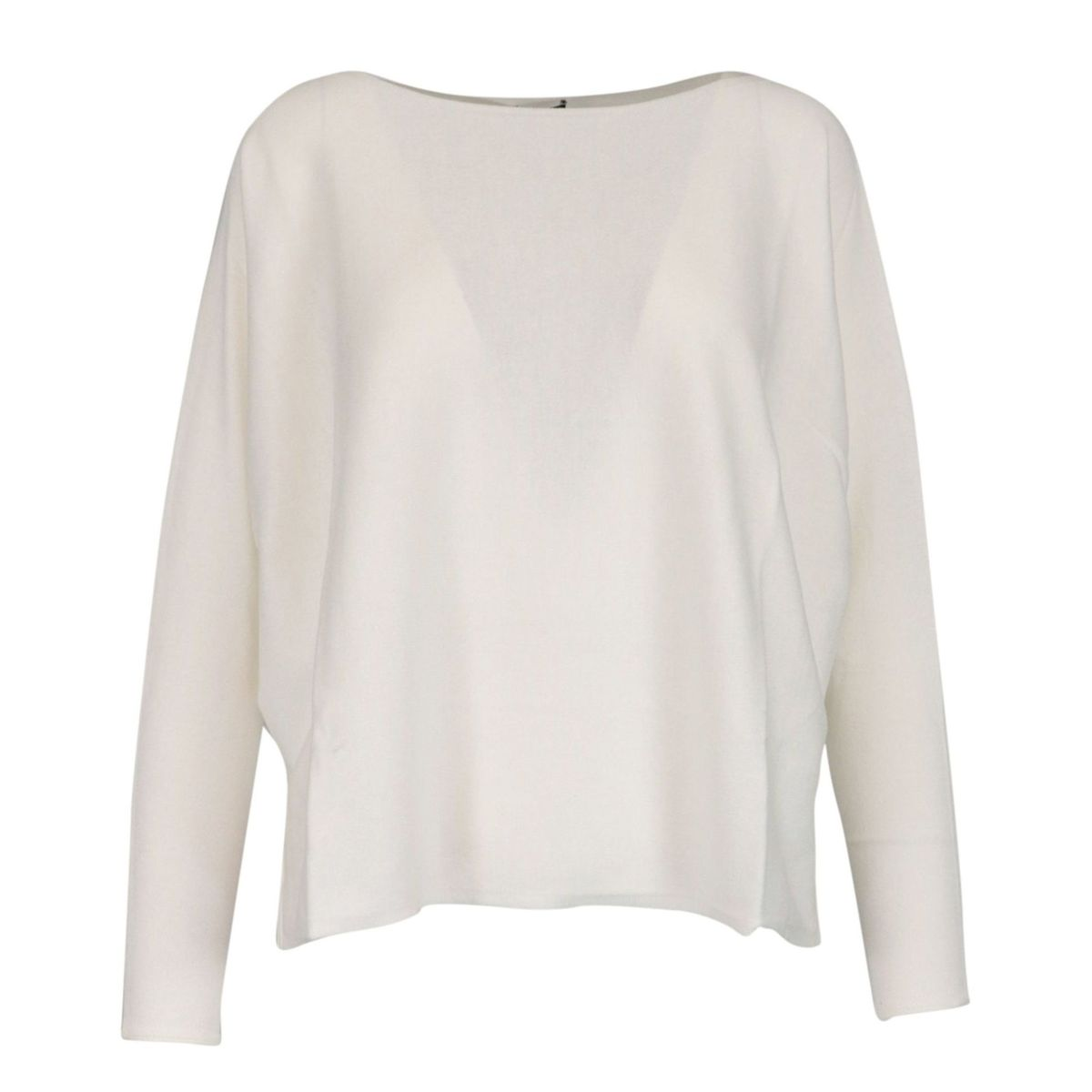 Cotton and modal sweater with boat neckline White Maliparmi