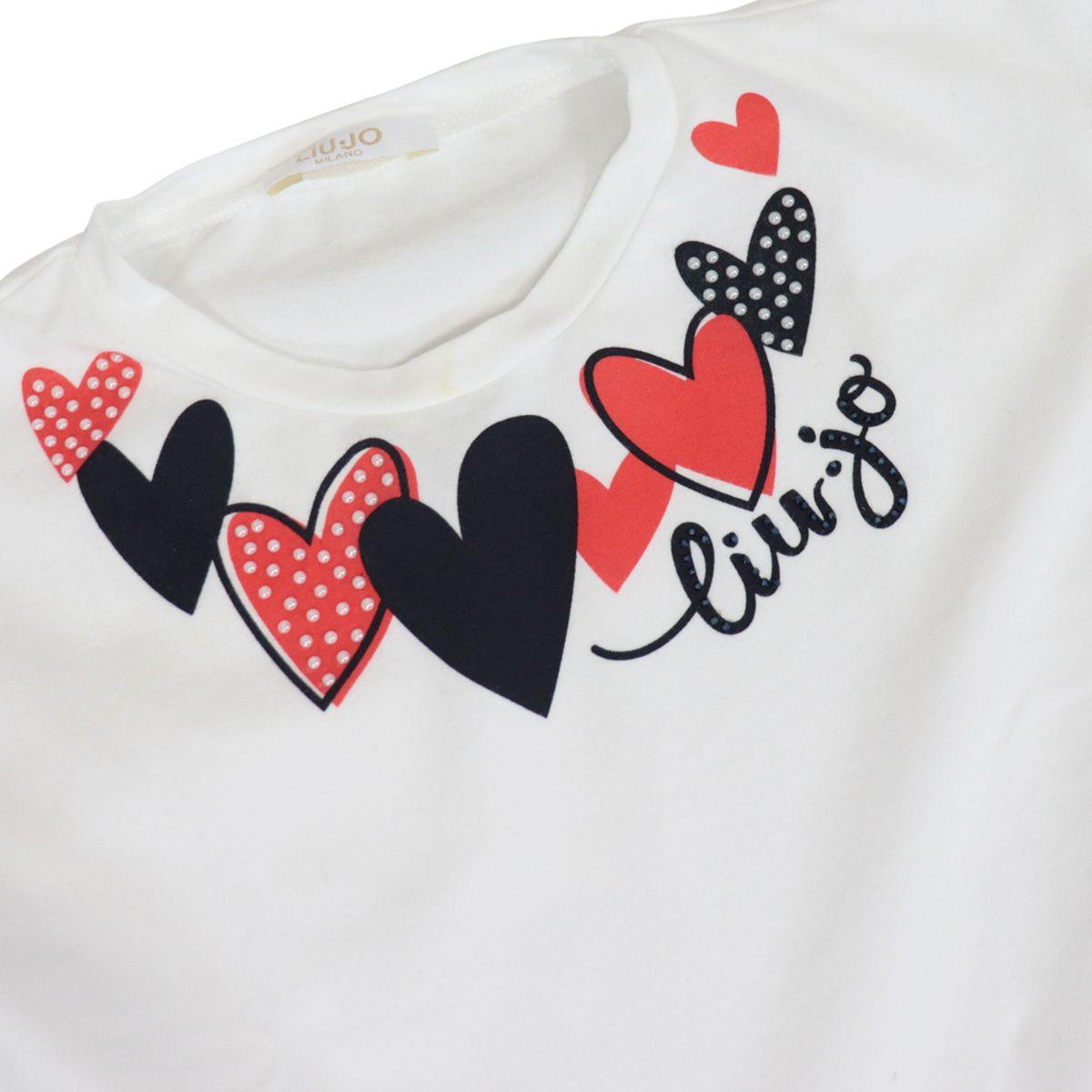 Jersey dress with heart print and flounced skirt White / blue Liu Jo