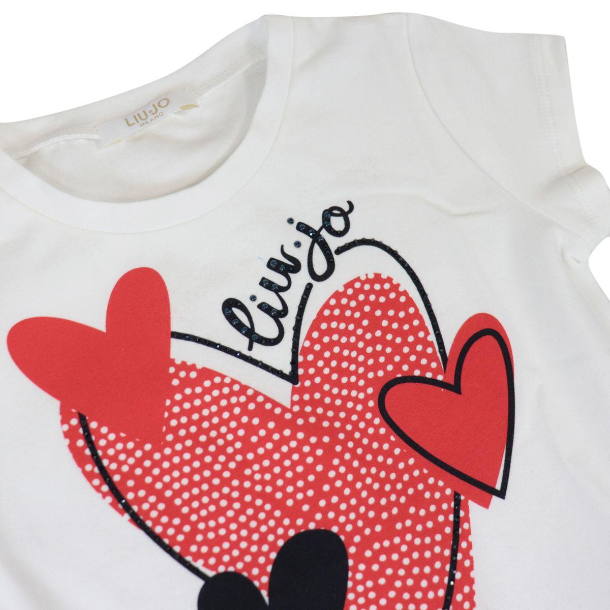 Short-sleeved jersey T-shirt with heart print and rhinestone application White Liu Jo