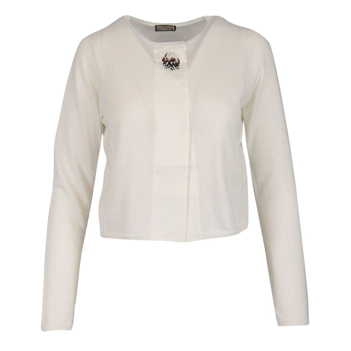 Short cotton cardigan with jewel button White Maliparmi