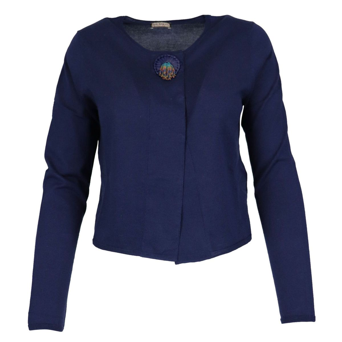 Short cotton cardigan with jewel button Sky Maliparmi
