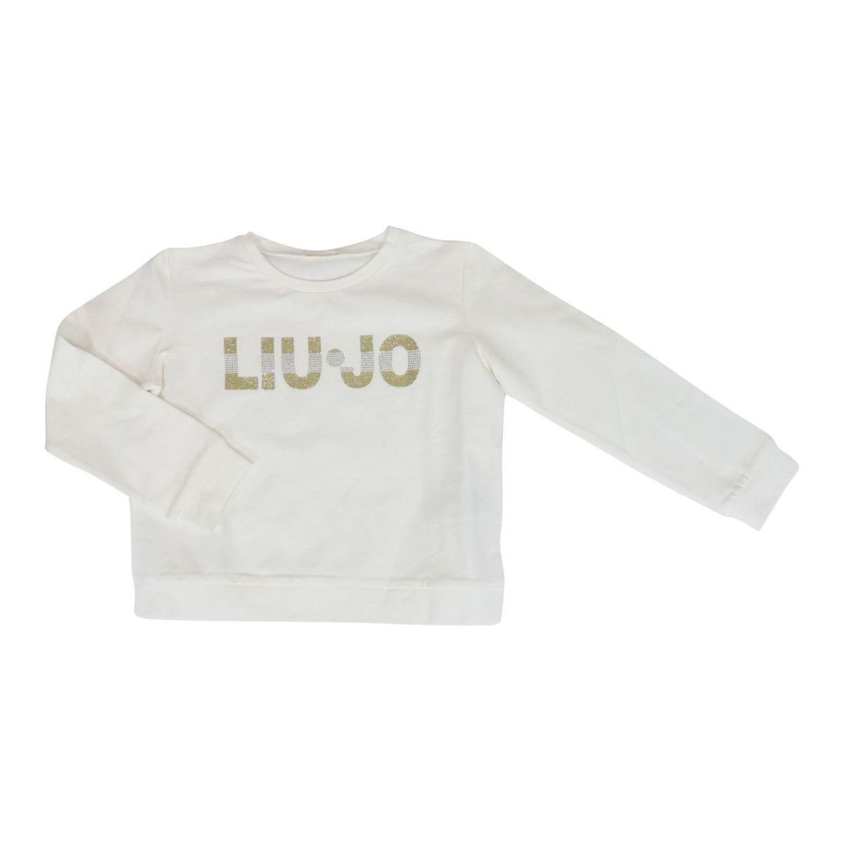 Crewneck cotton sweatshirt with rhinestone logo White Liu Jo