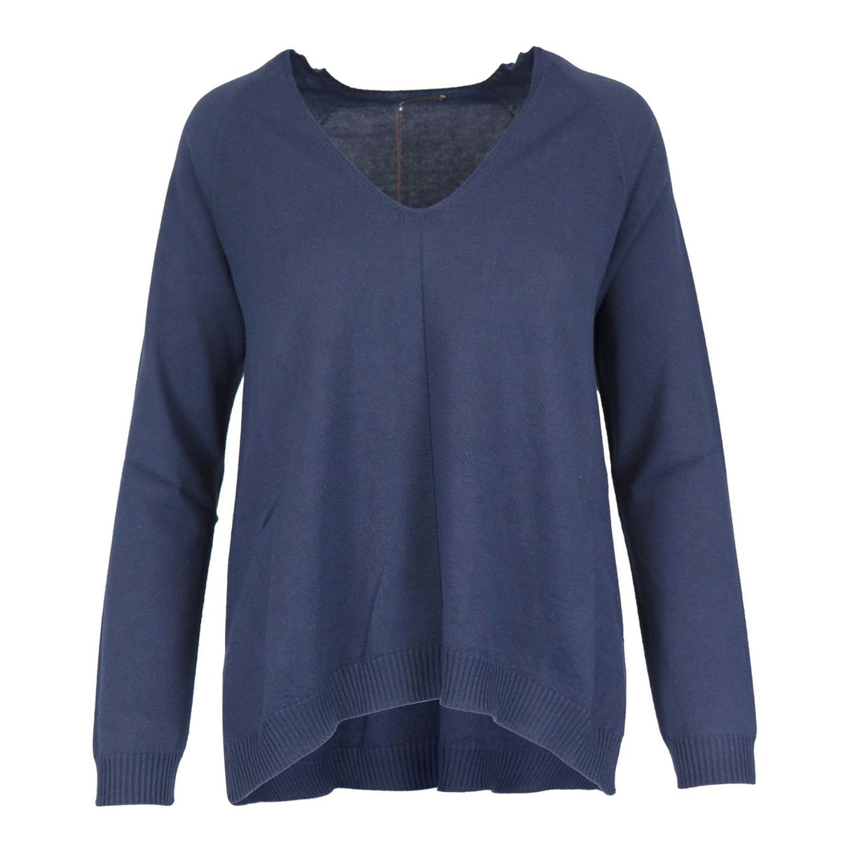 V-neck sweater in cotton and modal Blue Maliparmi