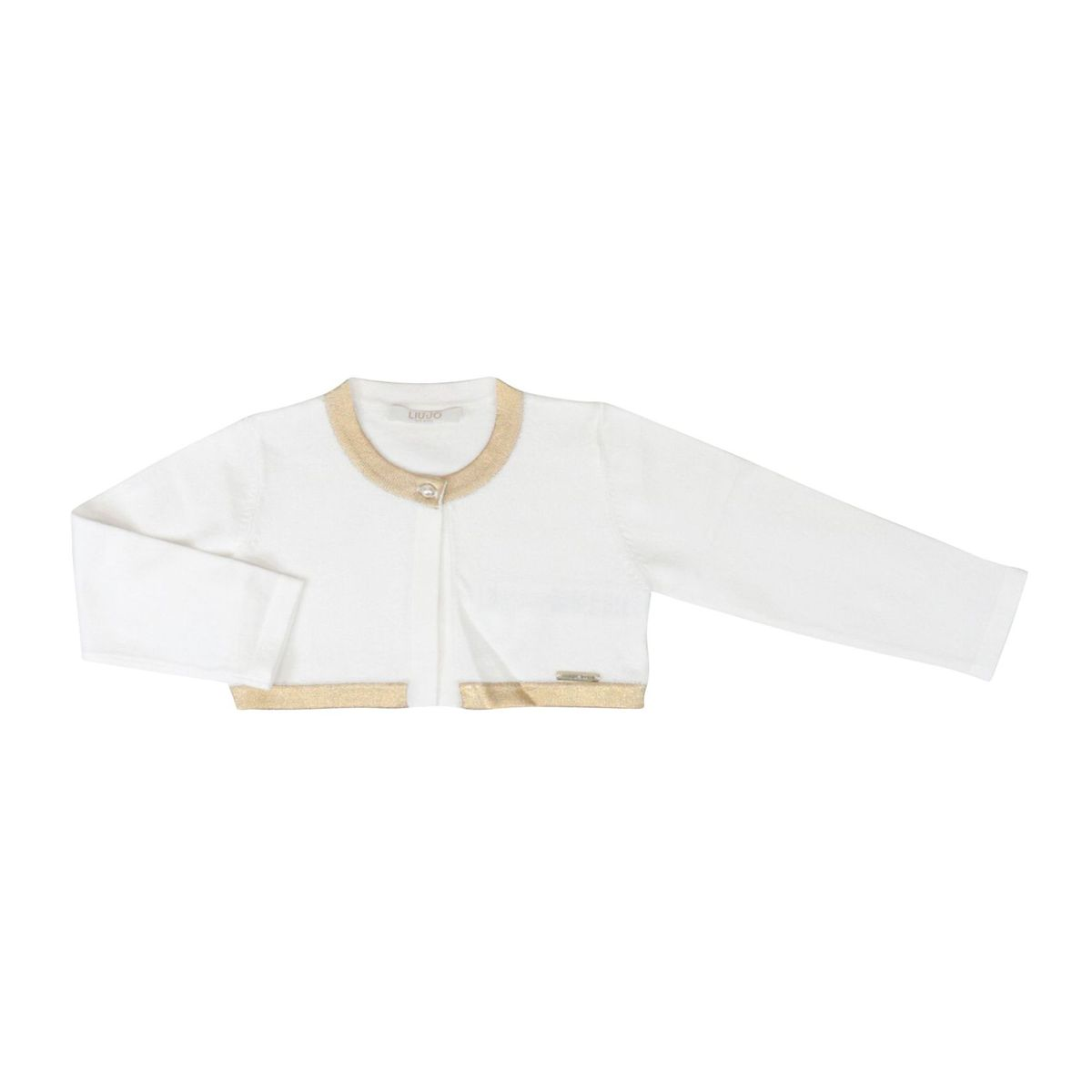 Viscose cardigan with contrasting edge White / gold Liu Jo
