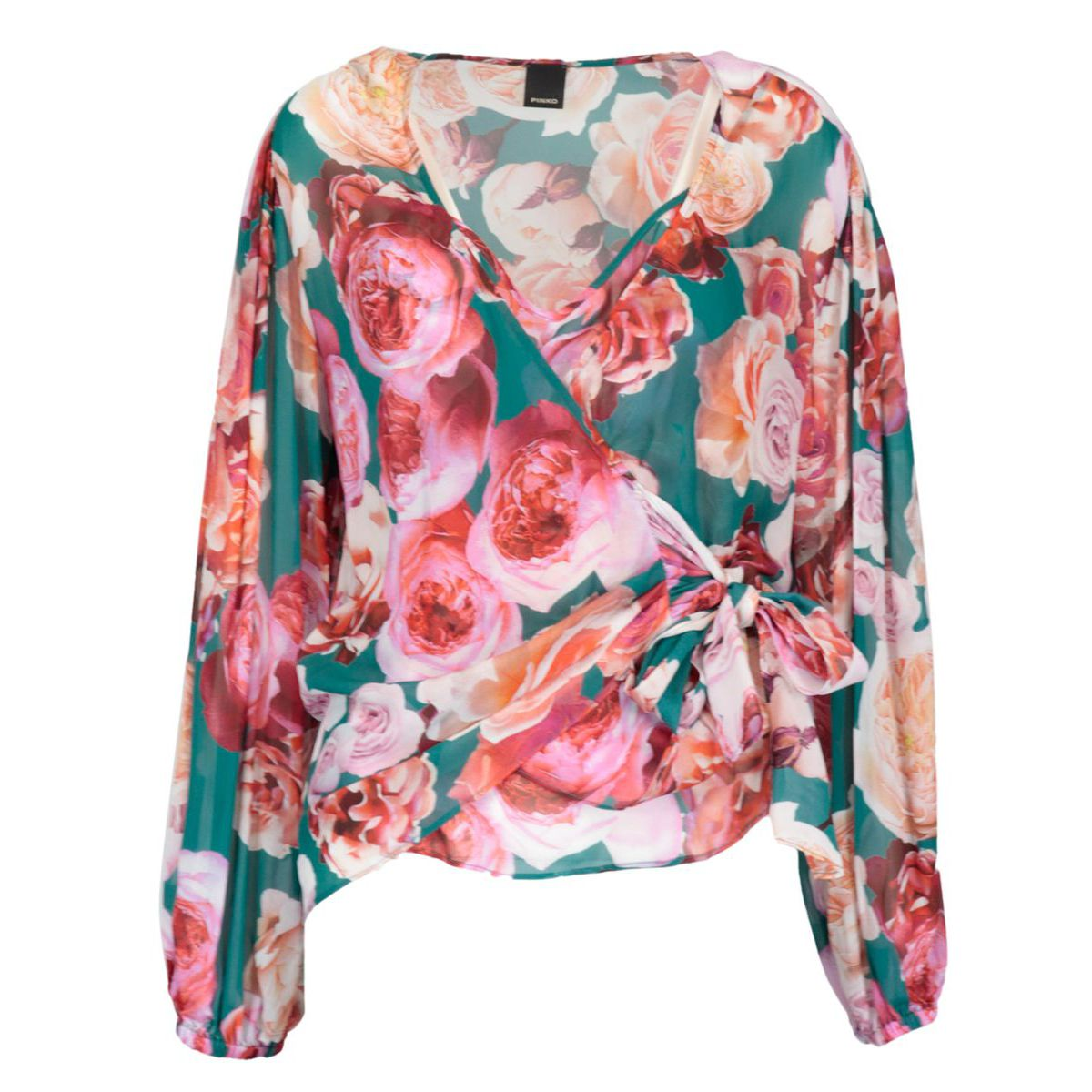 Puff blouse in viscose with top and print Green / fuxsia Pinko