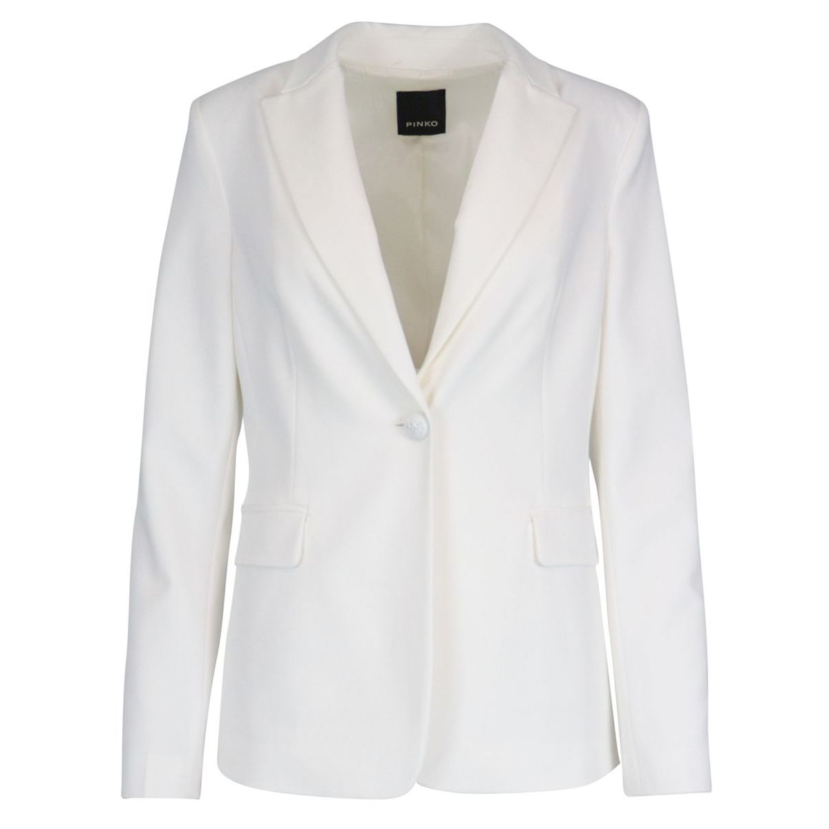 Single-breasted crepe jacket with lapel collar White Pinko