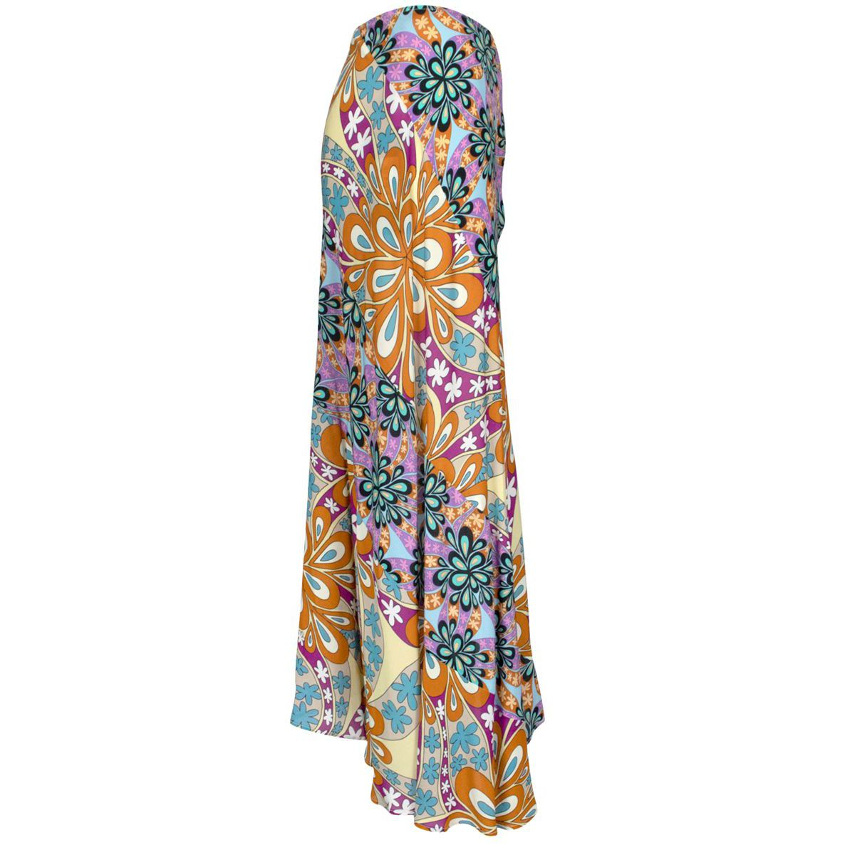 Multicolor asymmetrical Gallette midi skirt with floral pattern Black / green Pinko