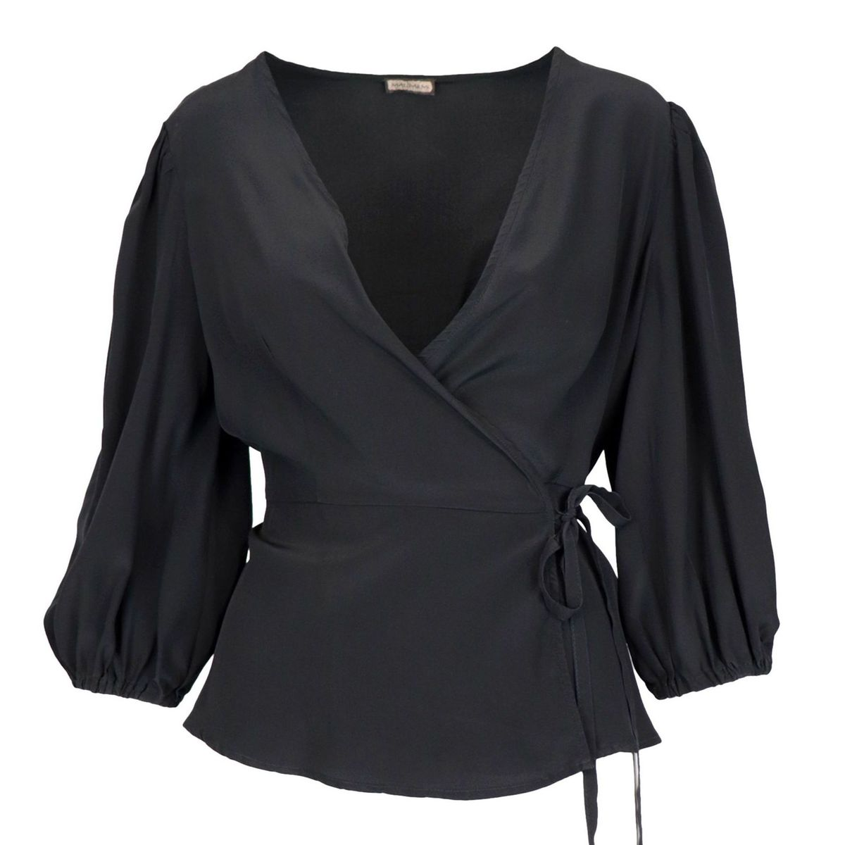 Silk shirt with heart warmer closure and three-quarter sleeves Black Maliparmi