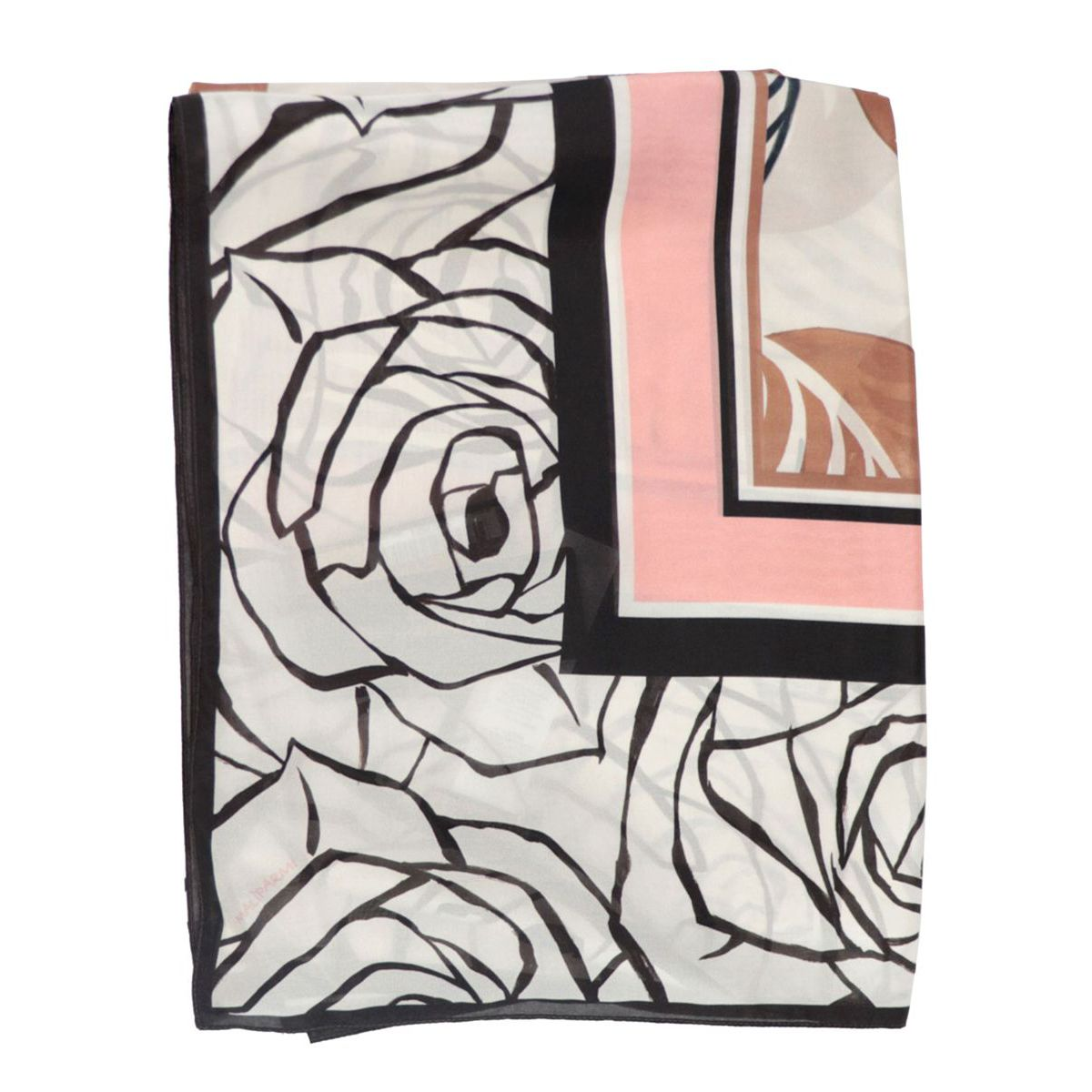 Silk stole with stylized rose pattern Milk / black Maliparmi