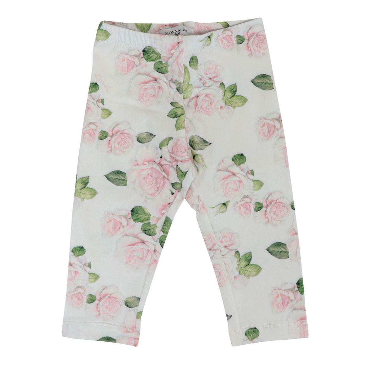 Jersey leggins with Romantic Garden print Cream Monnalisa