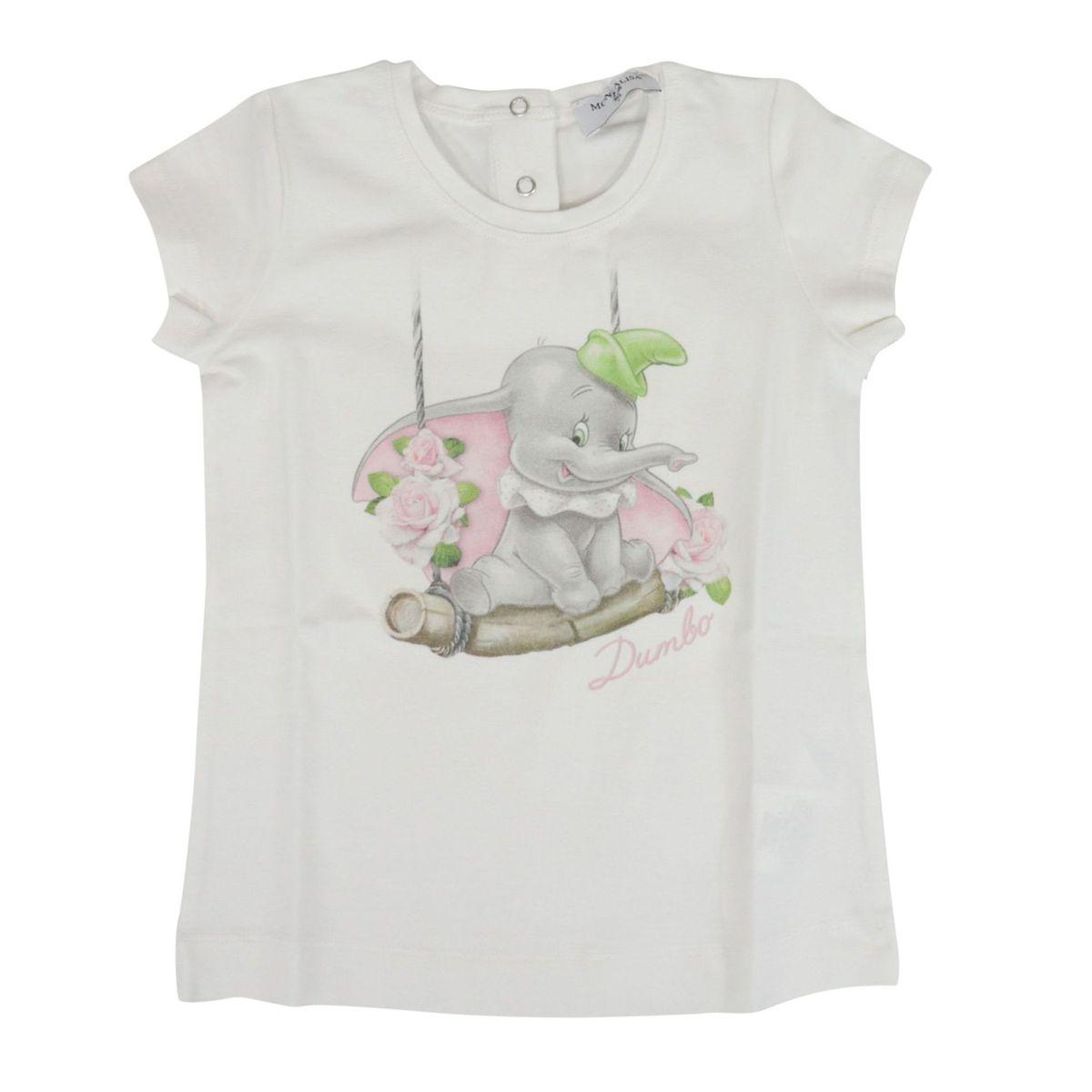 Short sleeve jersey T-shirt with Dumbo print Cream Monnalisa