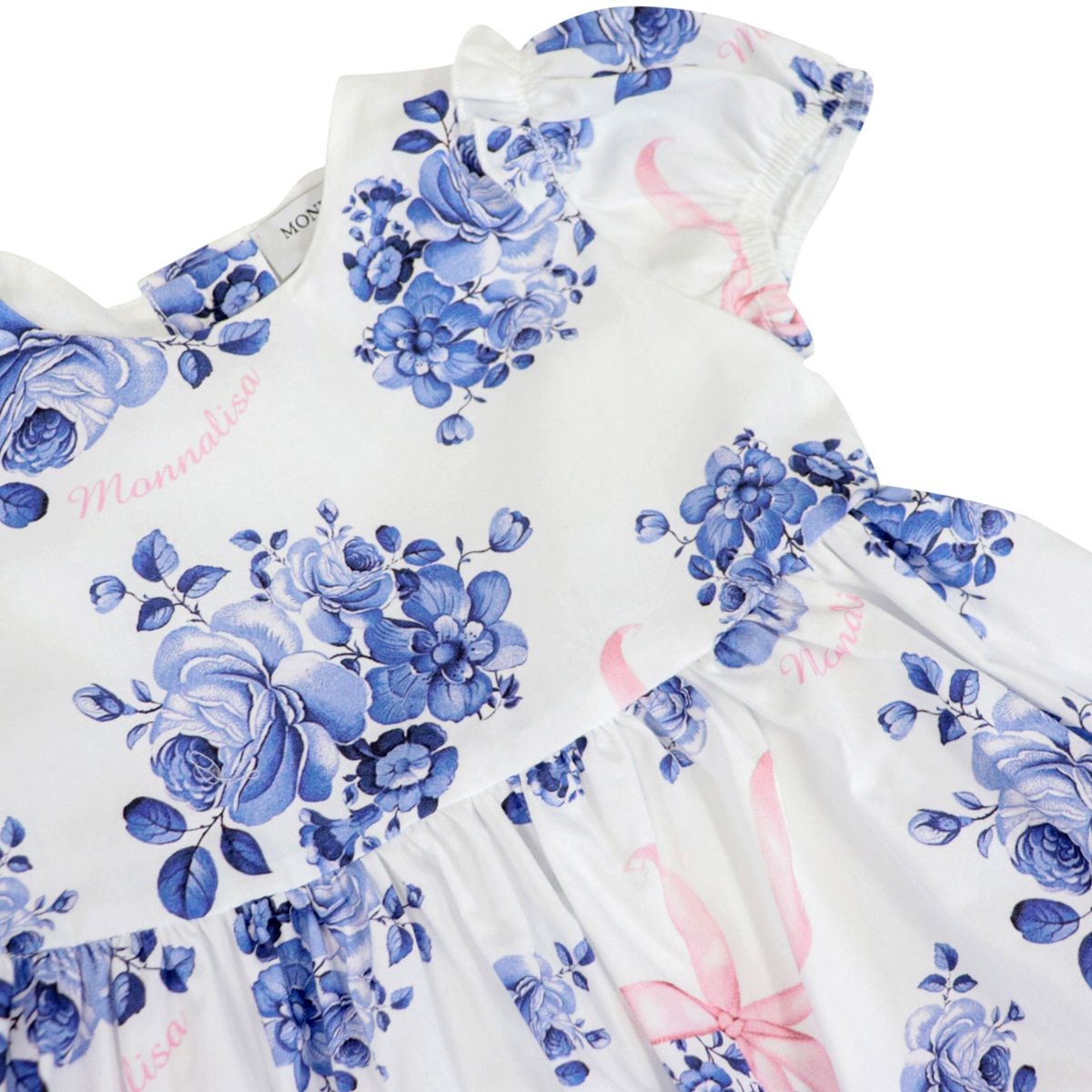 Cotton dress with wide skirt and rose print balloon sleeves White / blue Monnalisa