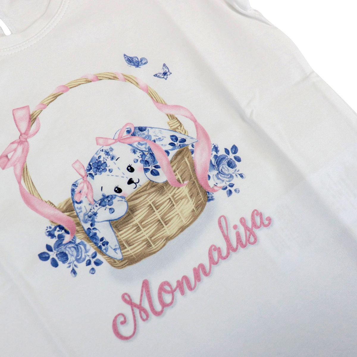 Short-sleeved jersey T-shirt with basket print White Monnalisa