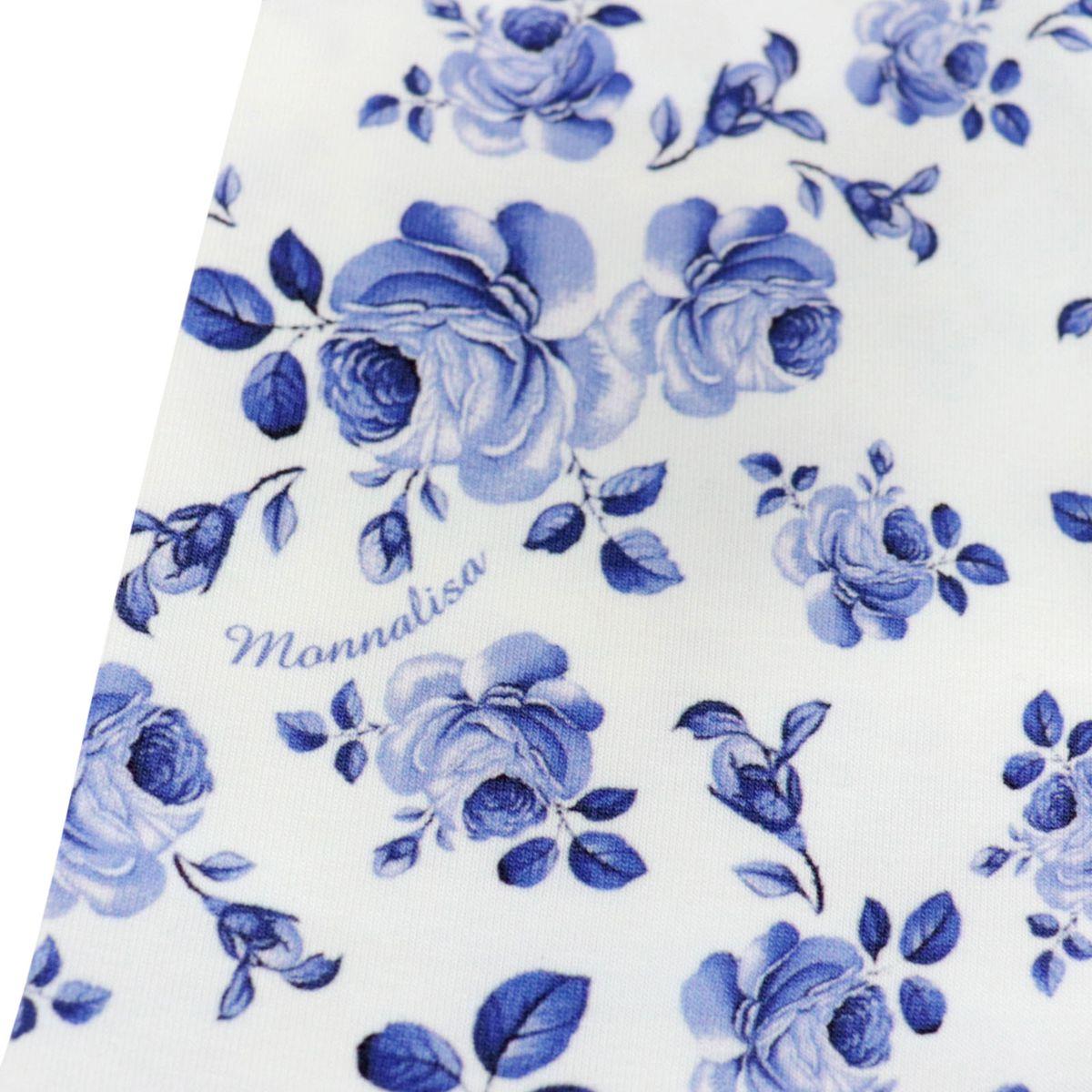 Jersey leggins with roses print White Monnalisa