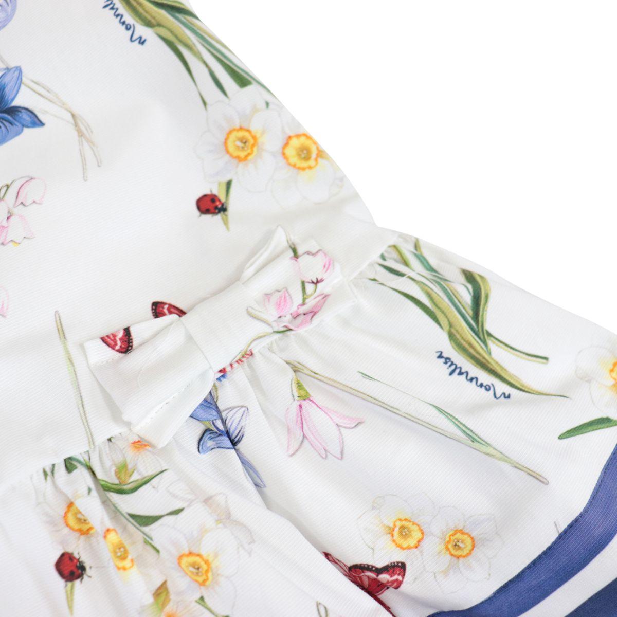 Cotton dress with Ramage Ottoman print White Monnalisa