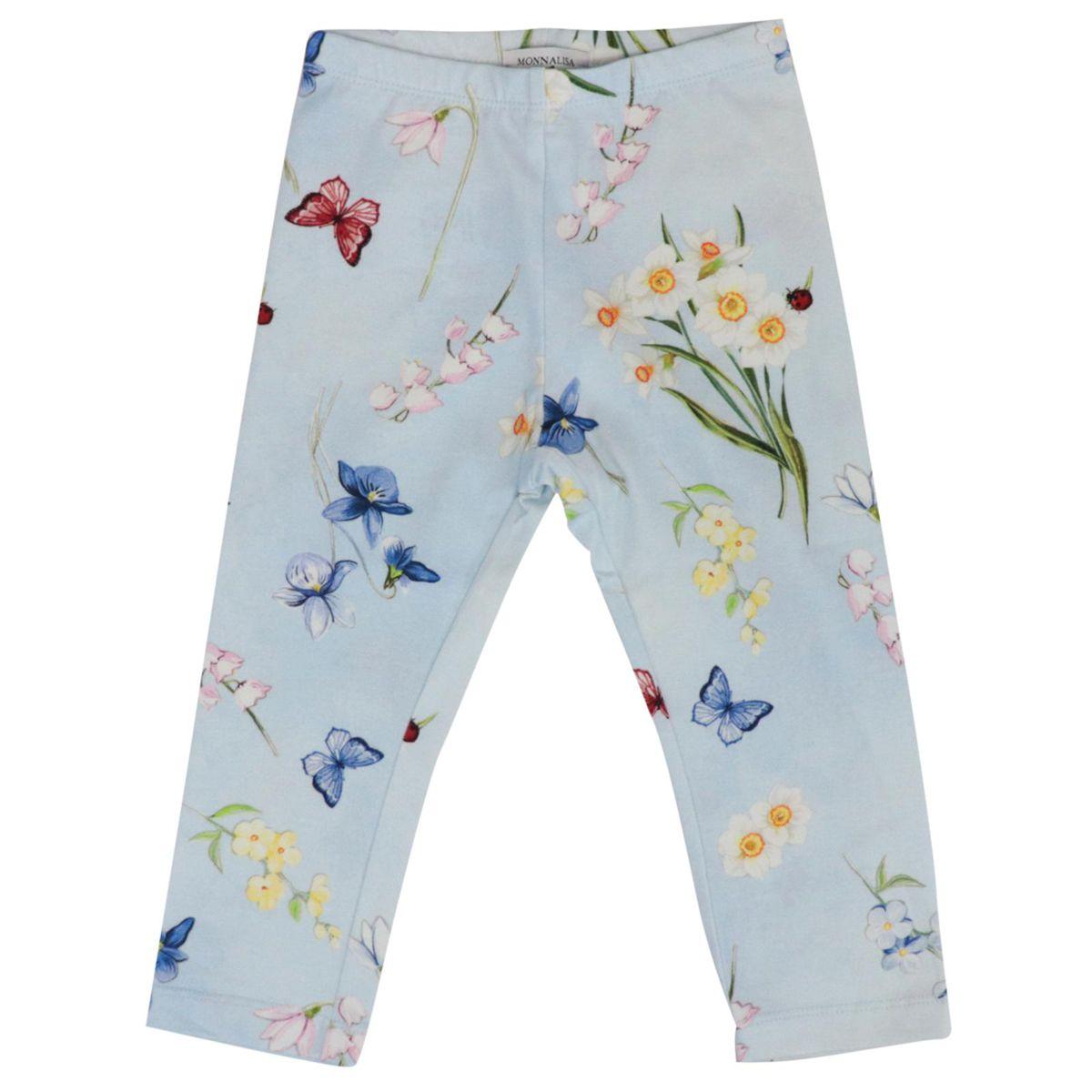 Stretch cotton leggins with floral print Powder blue Monnalisa