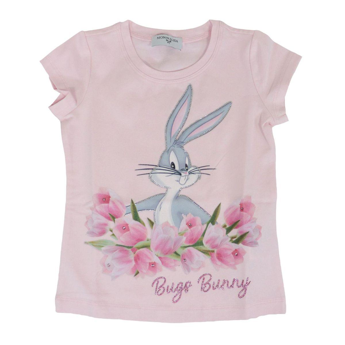Jersey T-shirt with Bugs Bunny print and rhinestone applications Rose Monnalisa