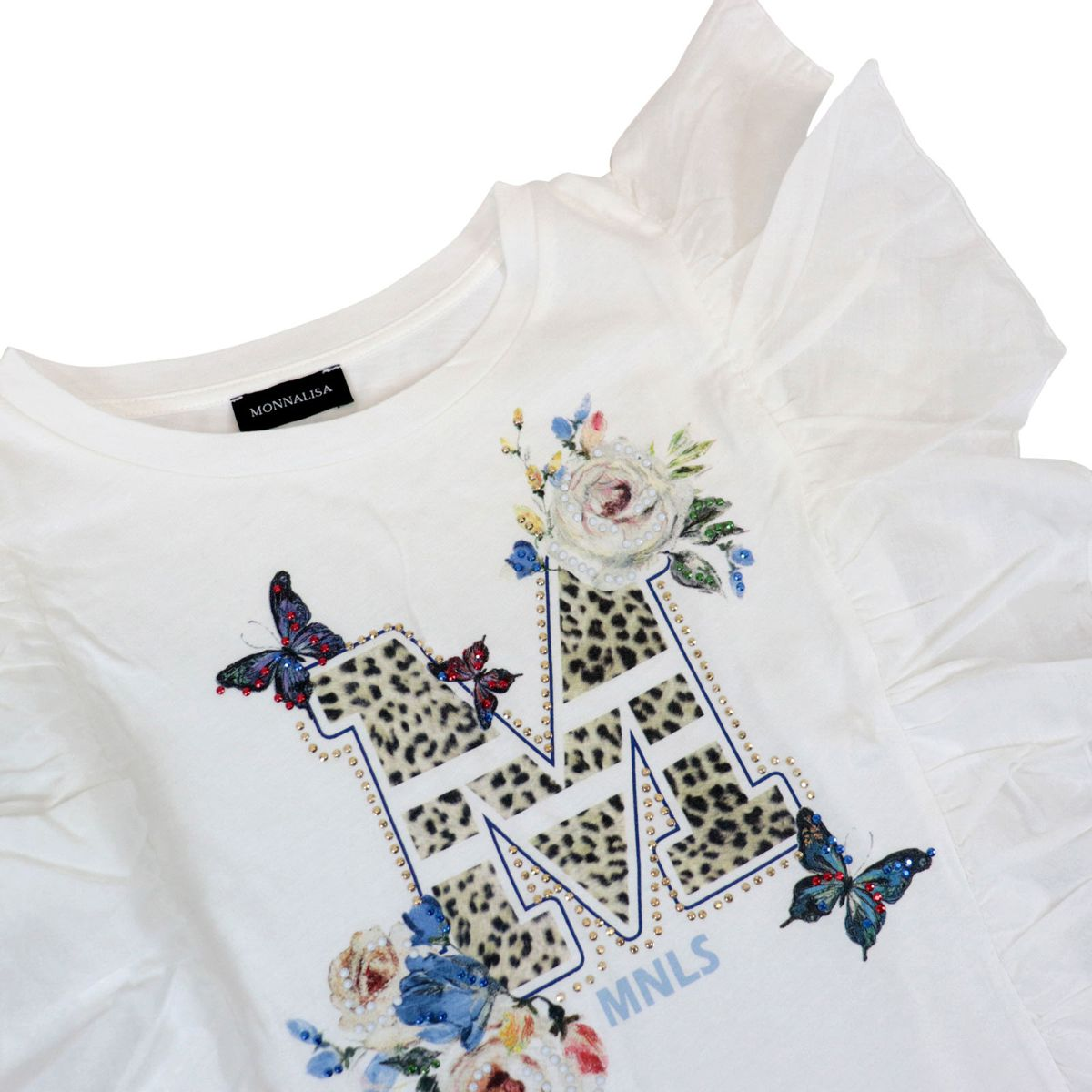 Jersey T-shirt with rouched sleeves and print with applied rhinestones Cream Monnalisa