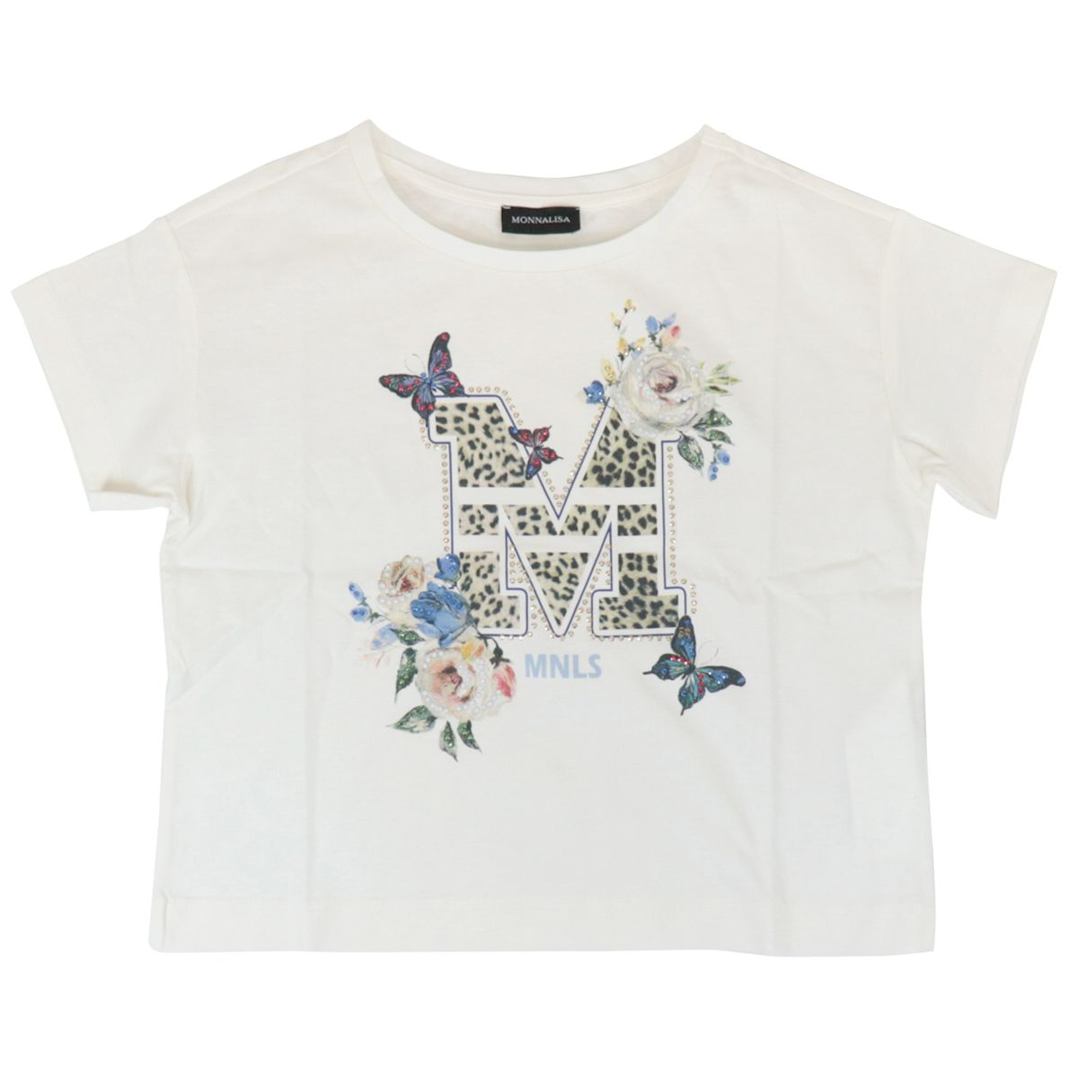Short-sleeved cotton T-shirt with print and stras Cream Monnalisa