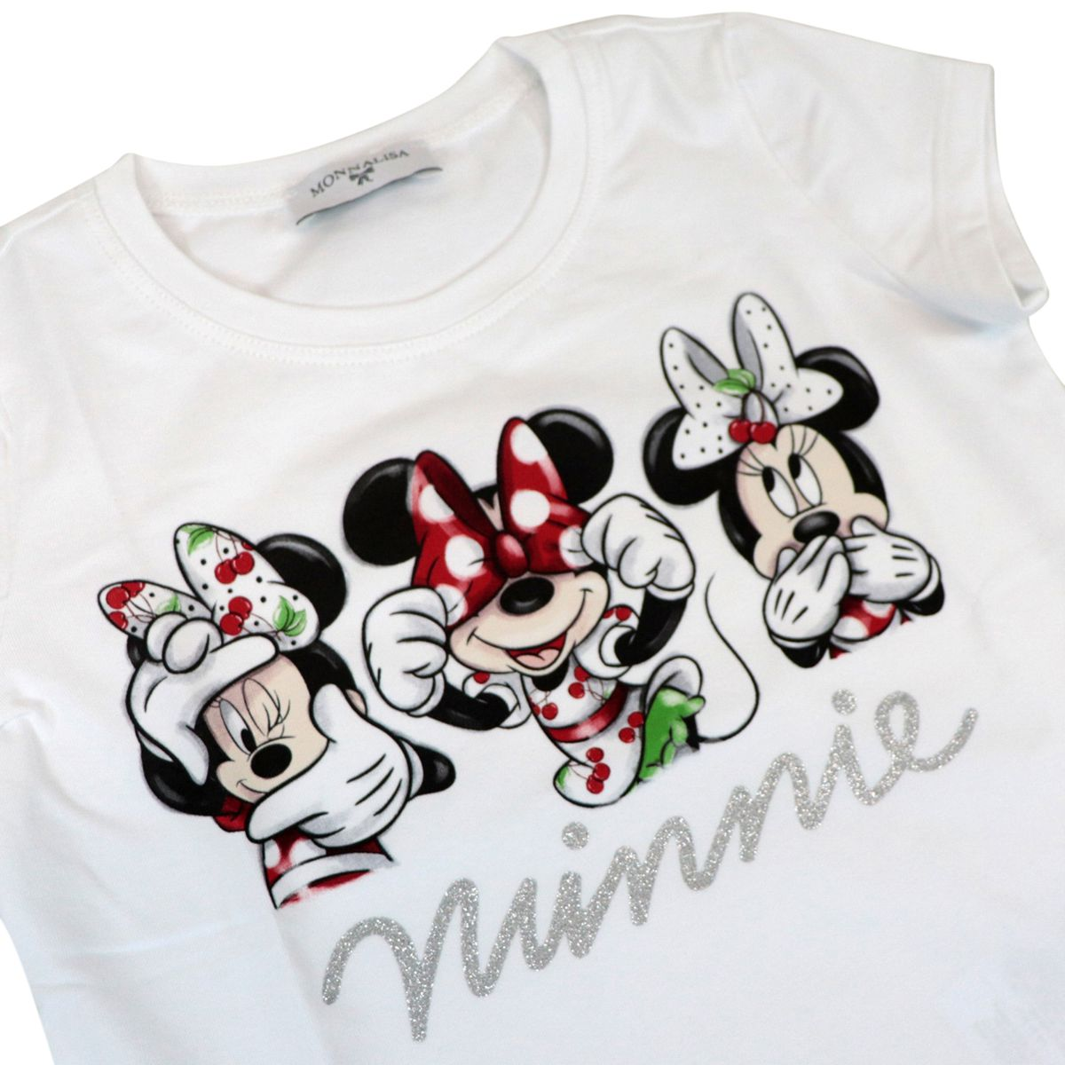 Short-sleeved cotton T-shirt with Minnie Mouse print White Monnalisa
