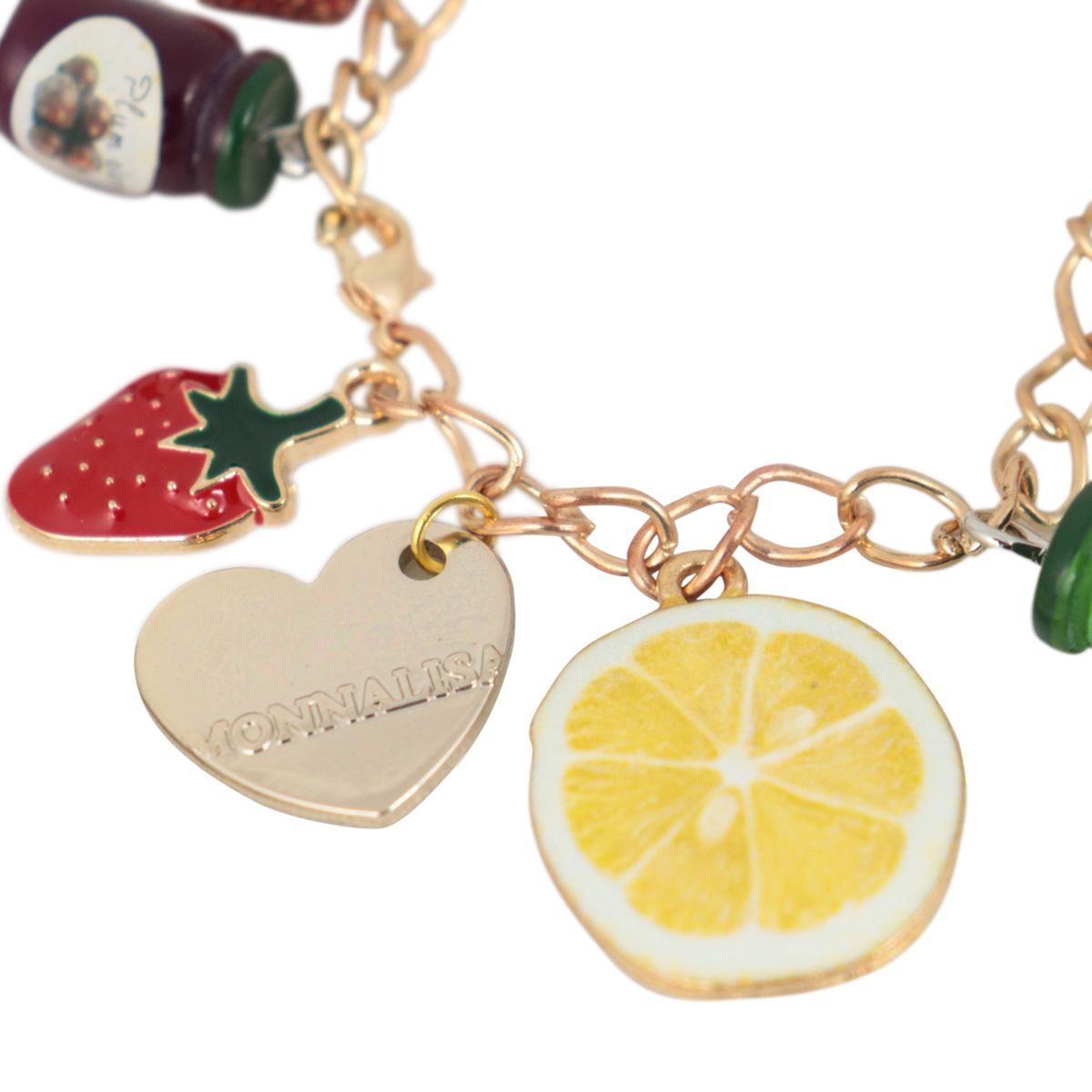 Bracelet with multicolor fruit charms Gold Monnalisa