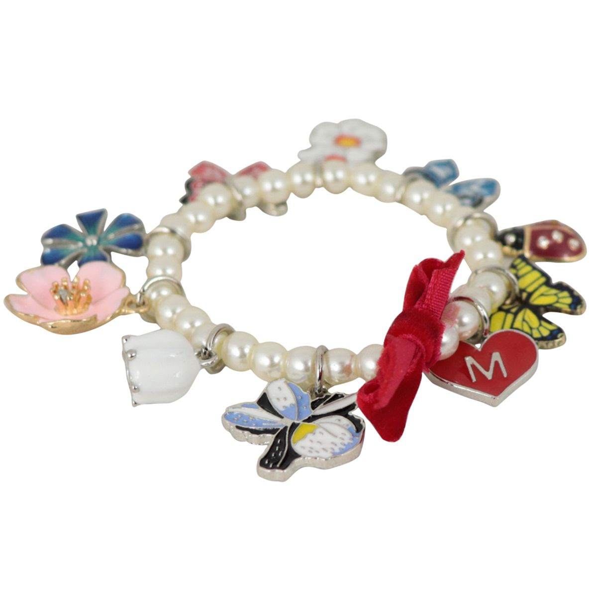 Bracelet with pearls and multicolor charms Pearl Monnalisa