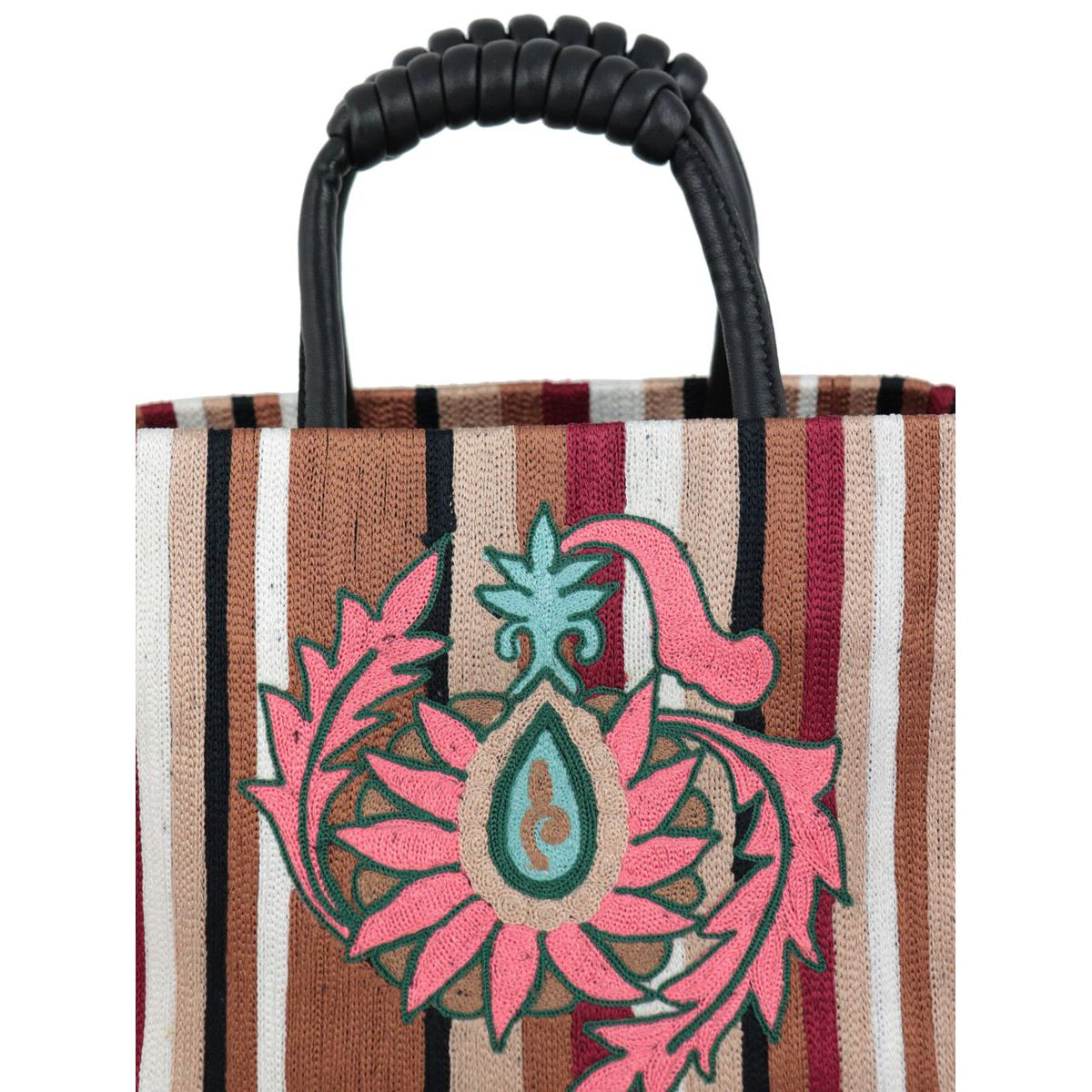 Canvas bag with striped pattern and embroidery Black / fantasy Maliparmi