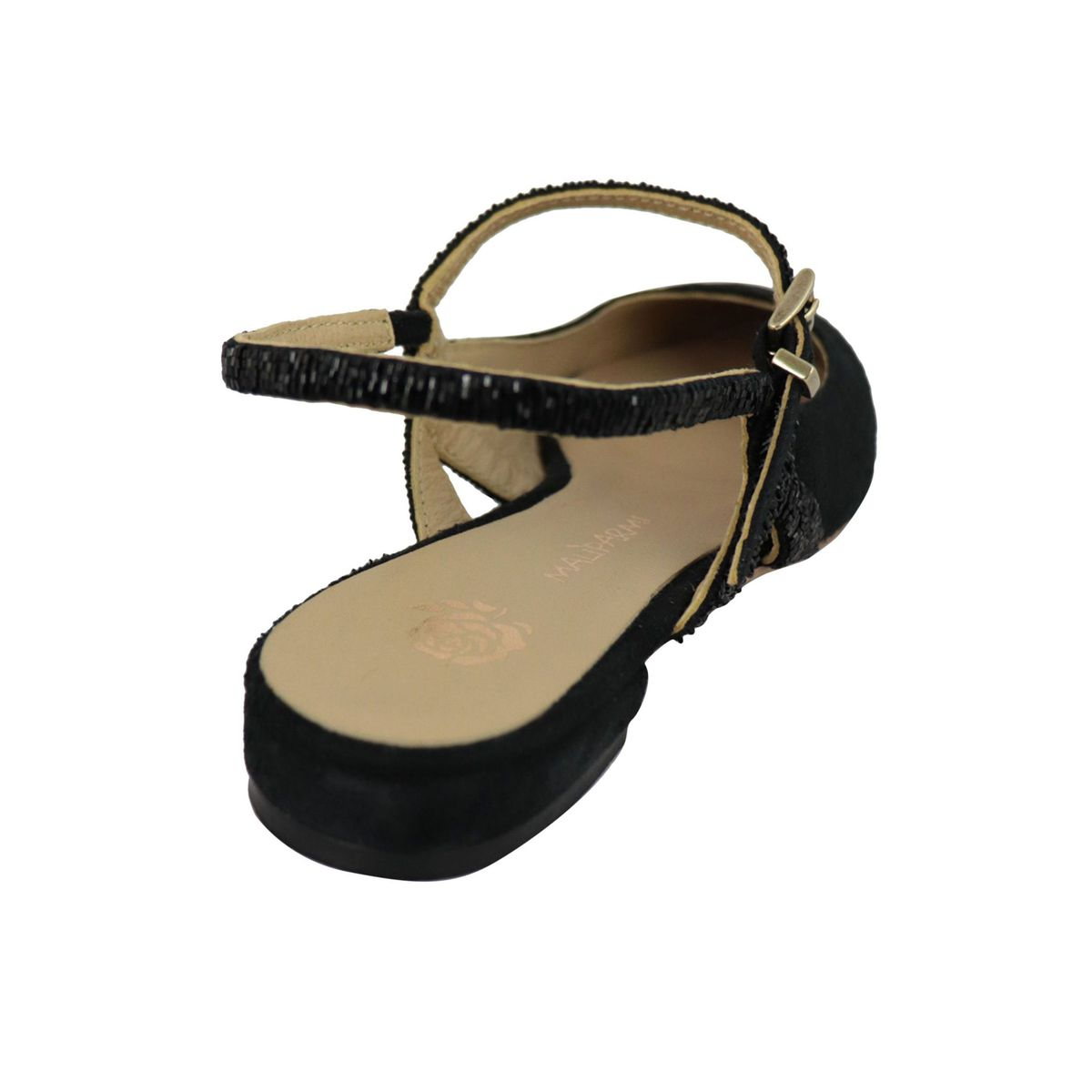 Suede slingback shoe with bead details Black Maliparmi