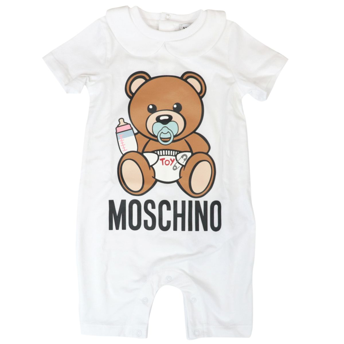 Short-sleeved cotton jumpsuit with bear logo print Optical white Moschino