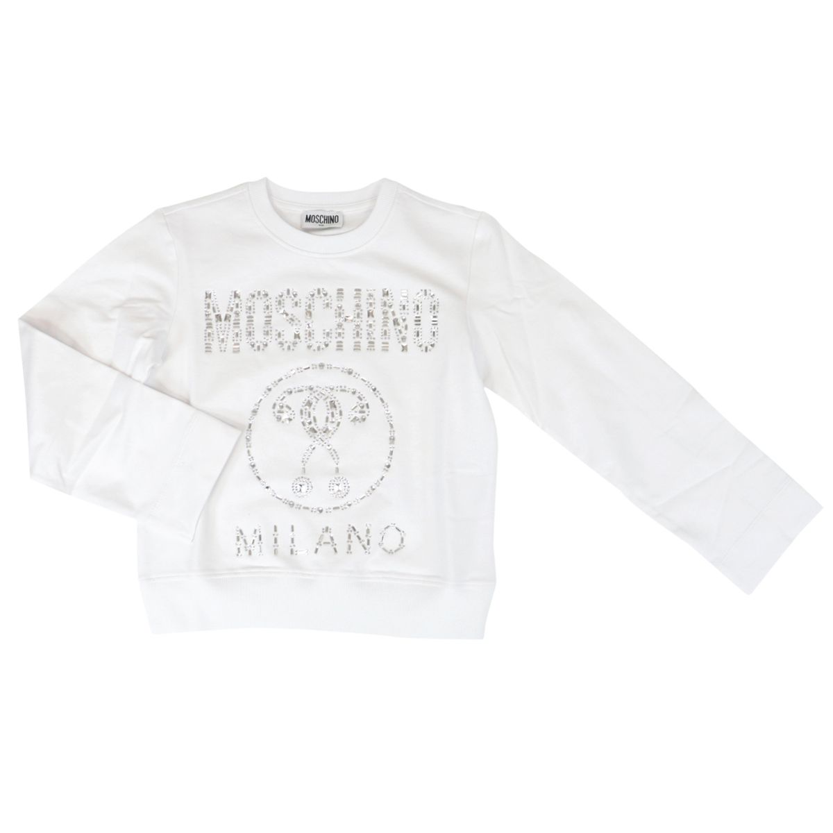 Cotton sweatshirt with logo and metal inserts Optical white Moschino