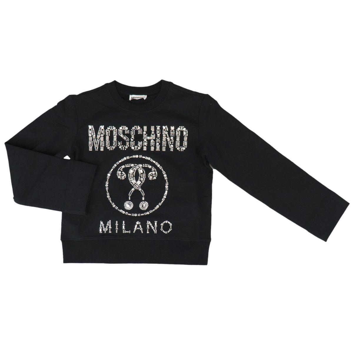 Cotton sweatshirt with logo and metal inserts Black Moschino