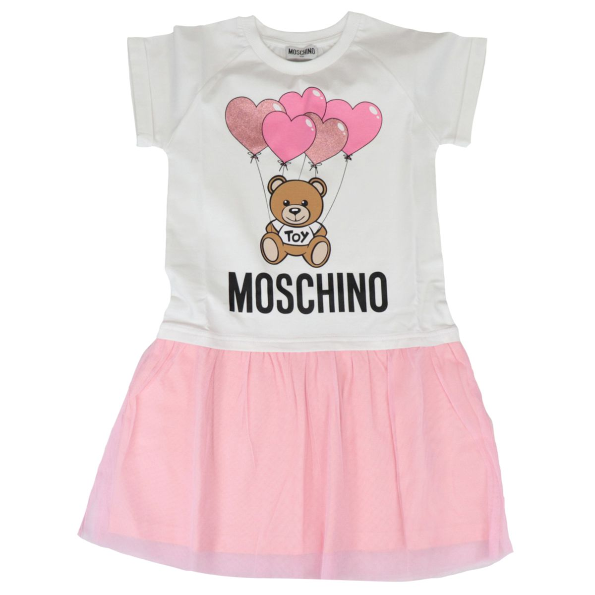 Cotton dress with teddy hearts and tulle print White / pink Moschino