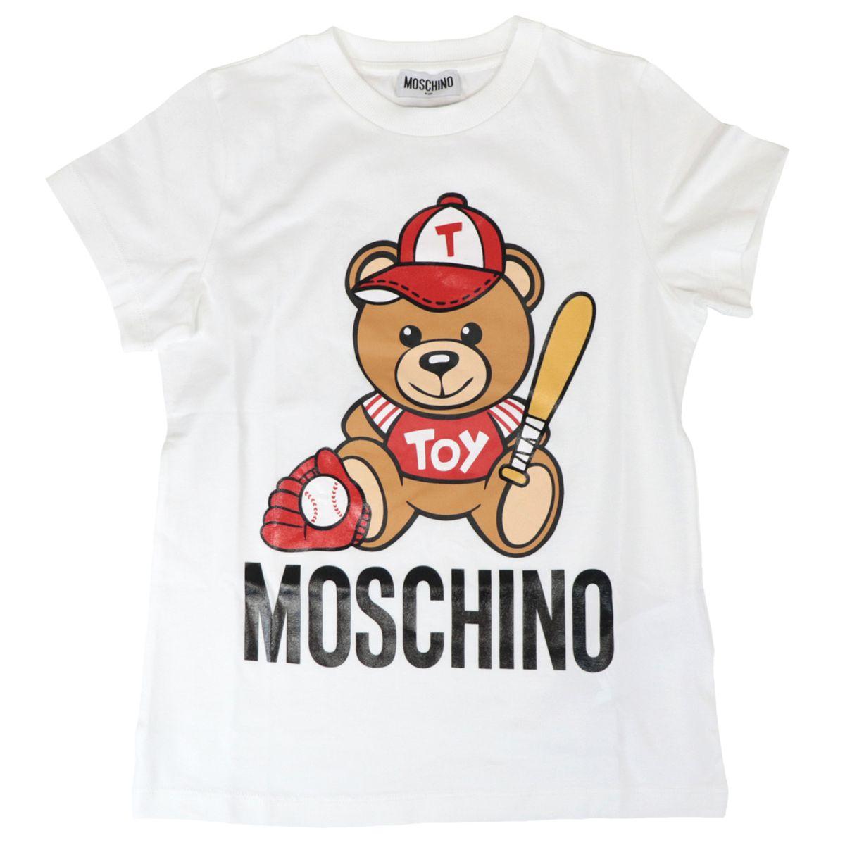Cotton t-shirt with bear logo print Optical white Moschino